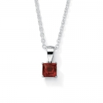 Princess-Cut Simulated Birthstone Sterling Silver Pendant and Chain 18- January- Simulated Garnet
