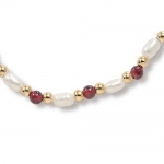 2.88 TCW Round Bead Genuine Garnet Round Simulated Pearl Goldtone Metal Necklace 18