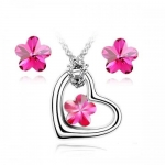 Contessa Bella Fancy Genuine 18k White Gold Plated Hot Pink Swarovski Austrian Crystal Heart and Flower Pendant Women Necklace and Earrings Set Elegant Silver Color Crystal Jewelry N9906