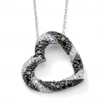 PalmBeach Jewelry 10k White Gold Black and White Diamond Heart-Shaped Pendant