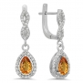 10K White Gold Pear Cut Citrine & Round Cut White Diamond Ladies Halo Style Dangling Drop Earrings